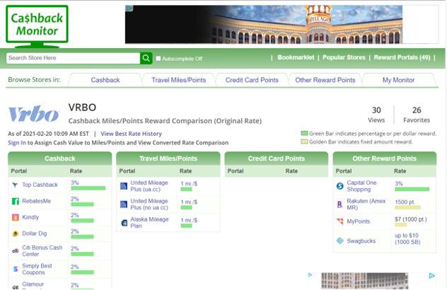 Screenshot of VRBO on Cashback Monitor