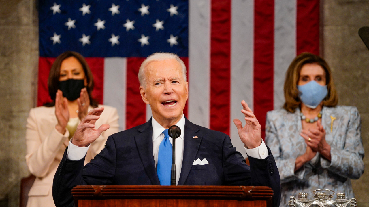 President Joe Biden speaks before a joint session of Congress at the U.S. Capitol