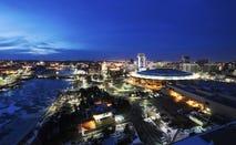 USA, Kansas, Wichita, Elevated cityscape at night