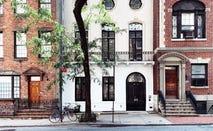 Brownstone buildings in midtown Manhattan