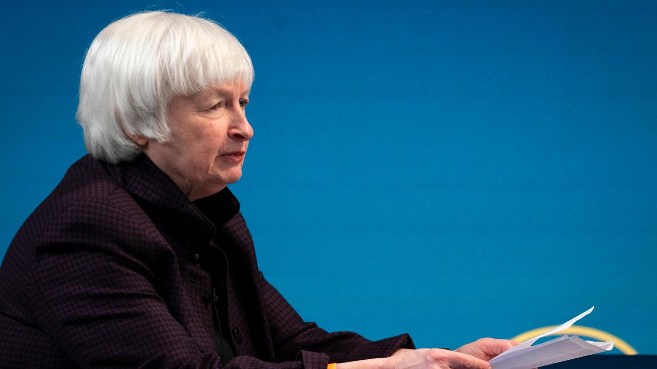Treasury Secretary Janet Yellen speaks during a virtual roundtable event in Washington, D.C.