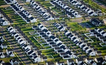 Houses in suburban neighborhood, aerial view