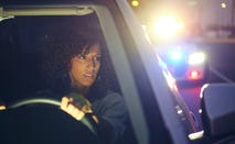 Night time police traffic stop