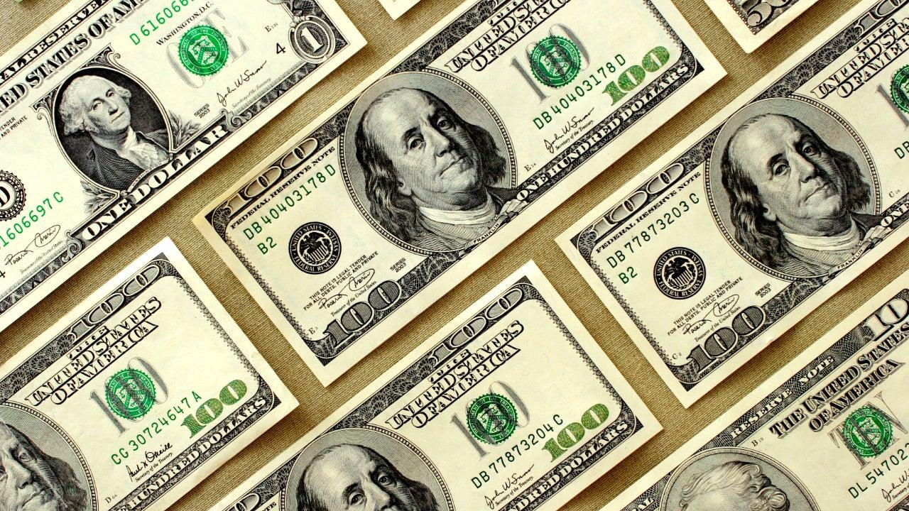 United States dollars close up