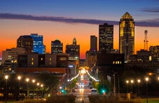 Des Moines Downtown Skyline With Vivid Orange And Blue Sunset