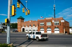 Red Brick Fire Station Building