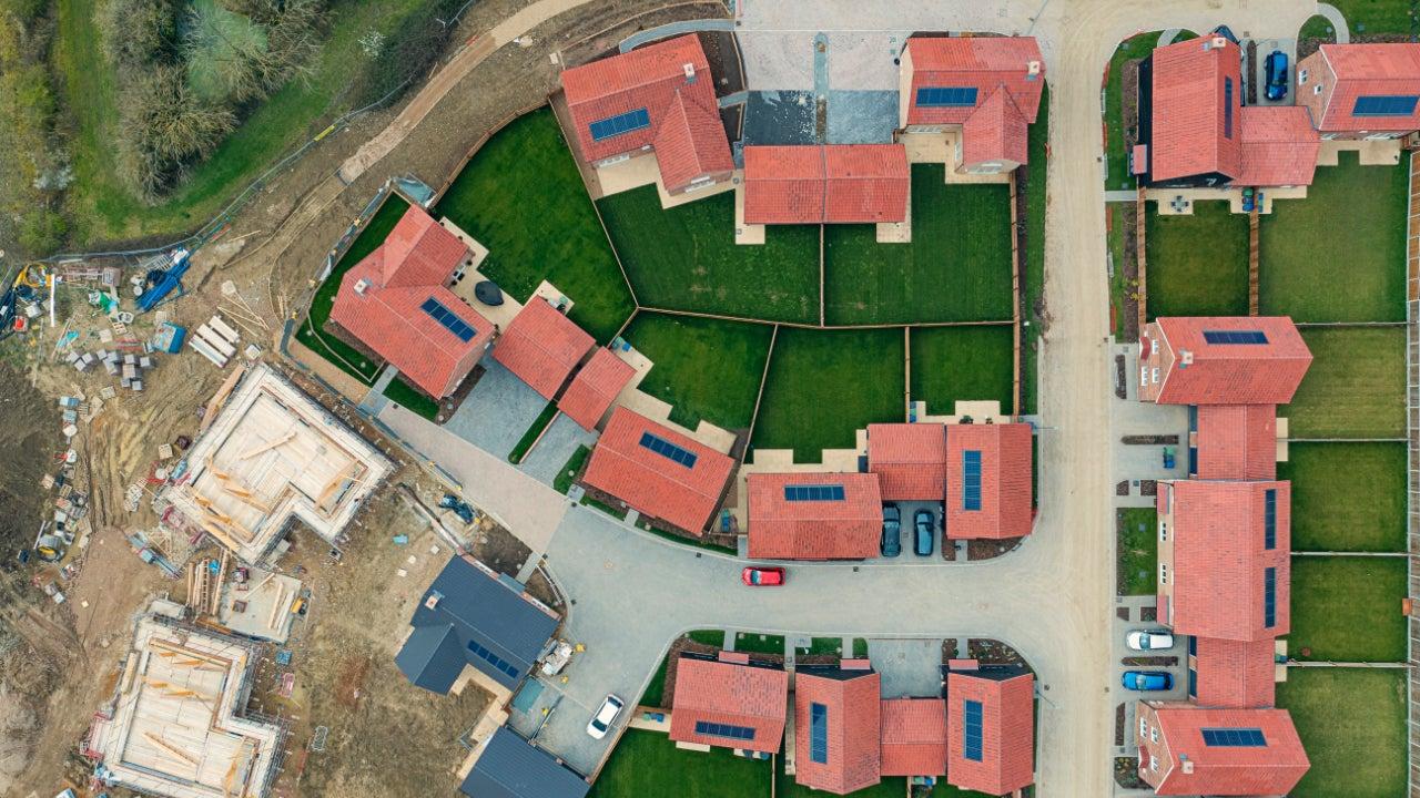 Drone view of modern housing development