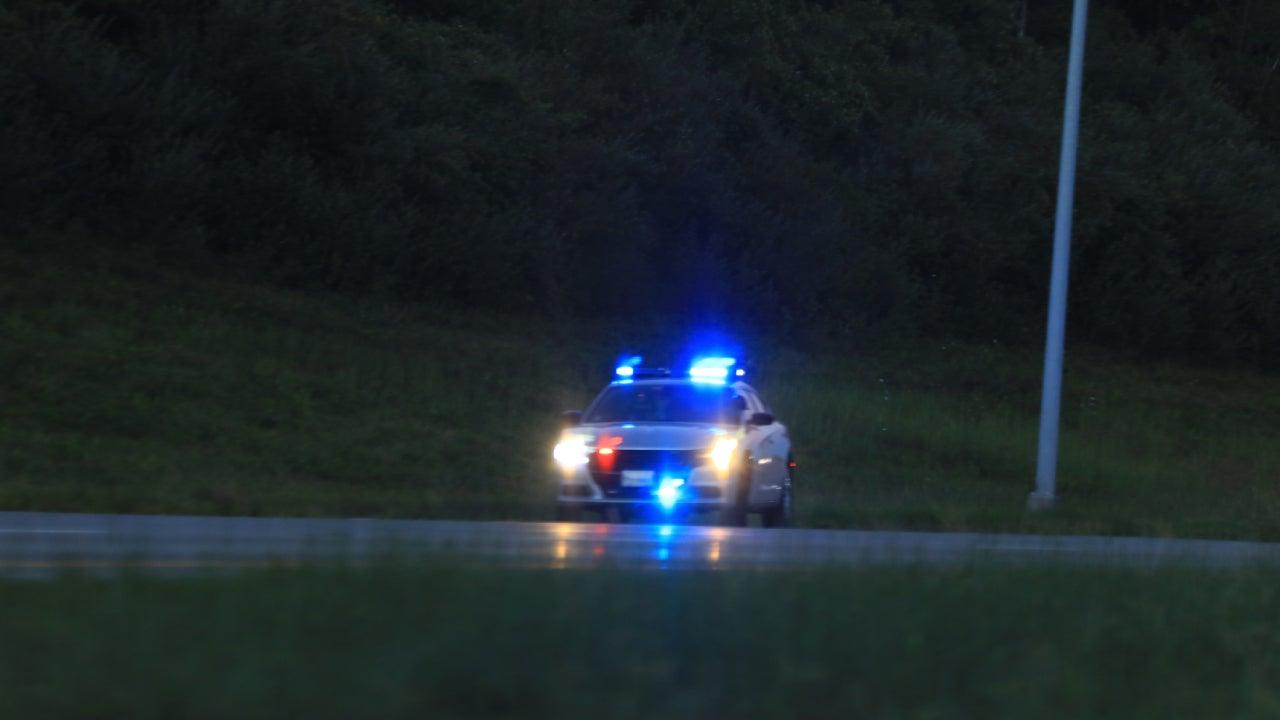 Illuminated police car lights and sirens