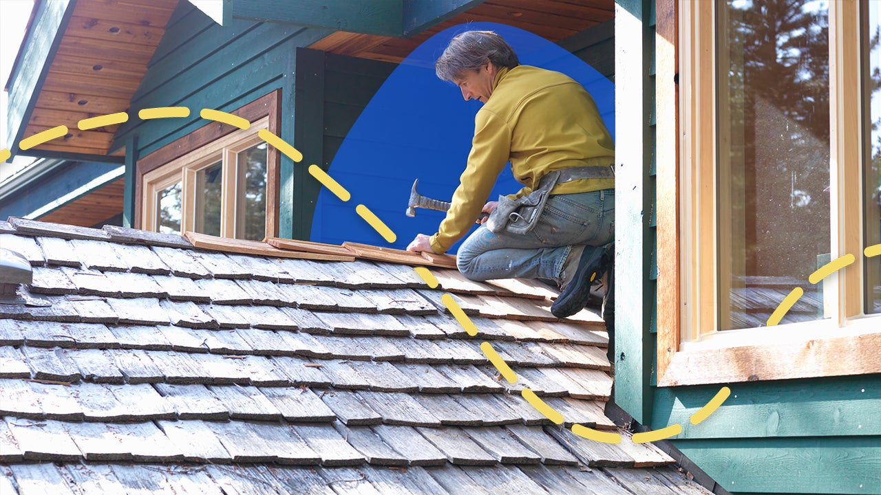 Person repairing a roof