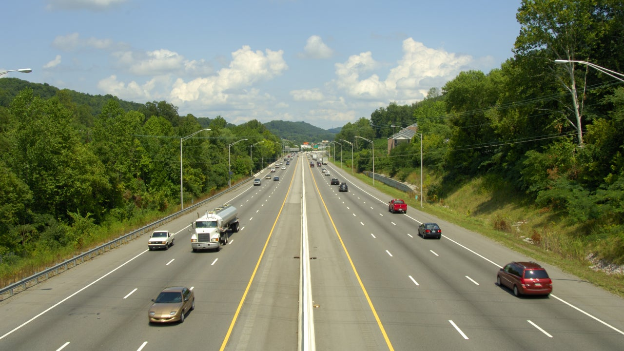 Six-lane interstate highway with traffic