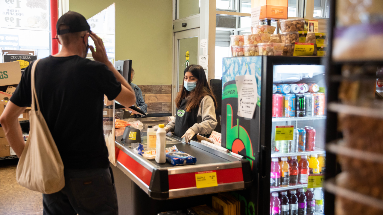 Customers shopping at a supermarket