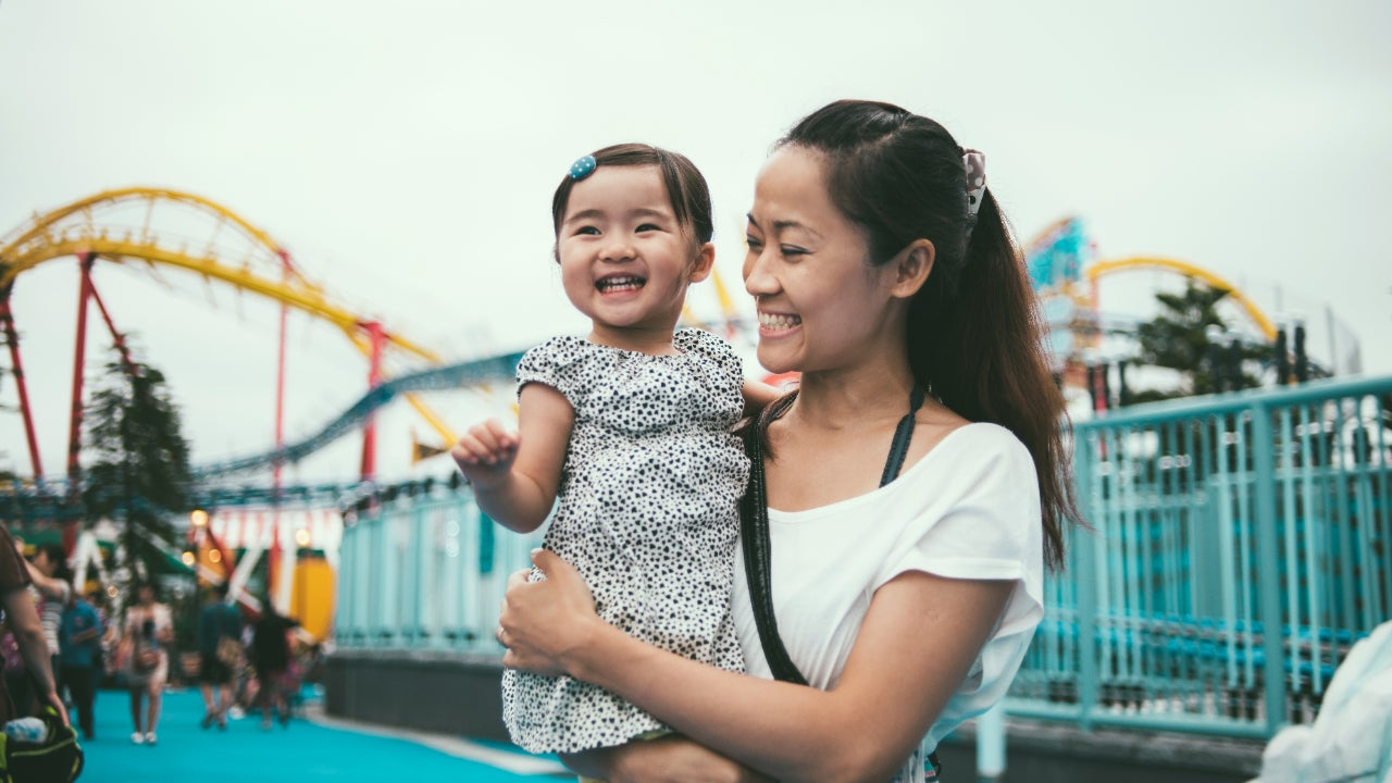 Mother and child at amusement park