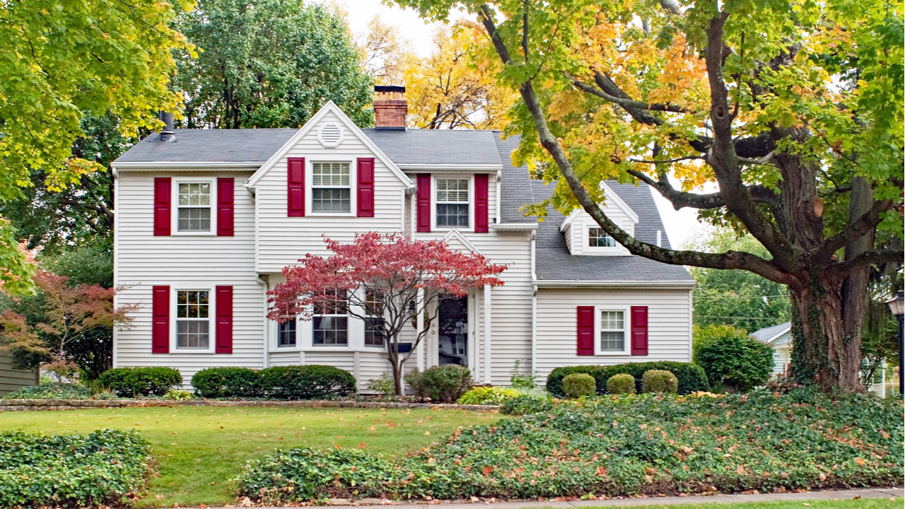 A suburban home in the fall
