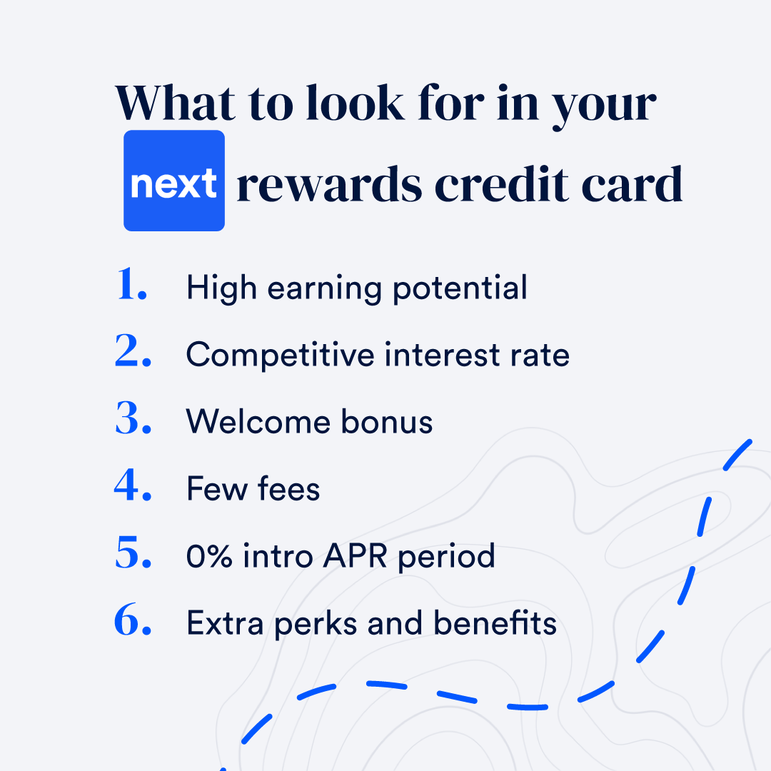 Infographic list of features to look for in rewards card