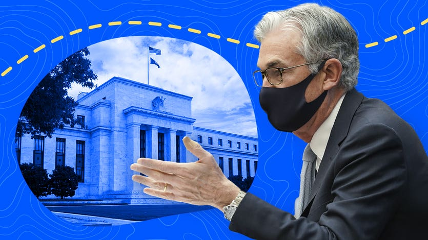 Federal Reserve Chairman Jerome Powell illustration with Fed's Eccles building in background