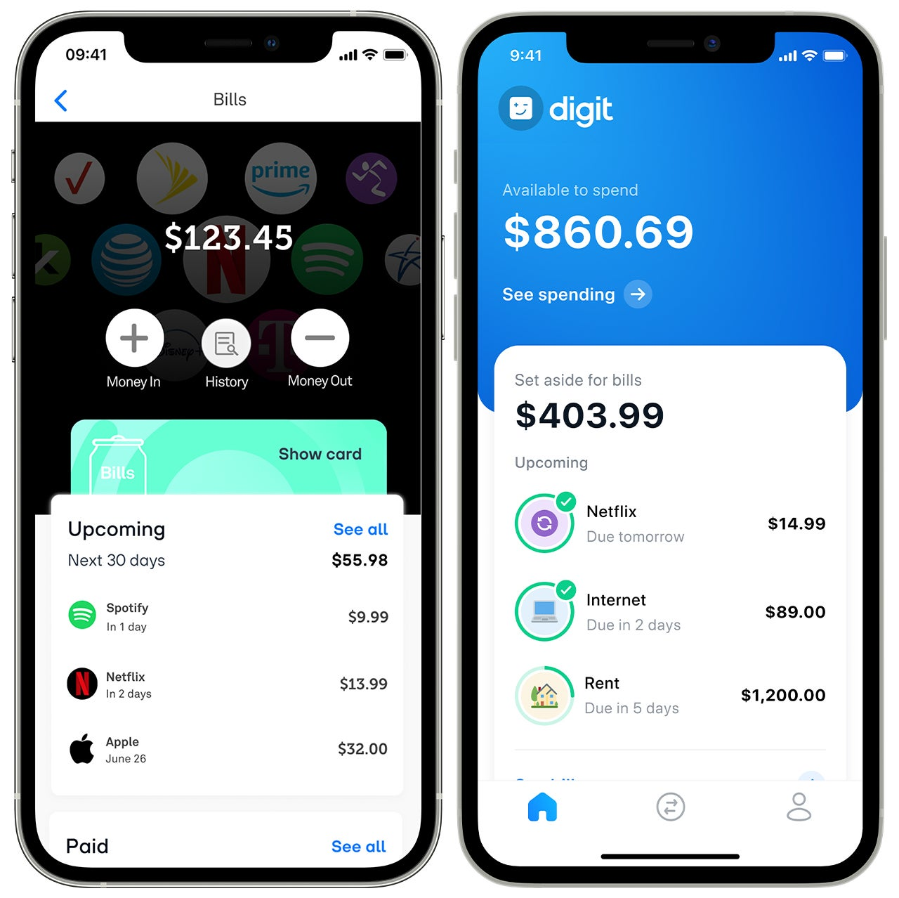 Screenshots of the Digit and Douugh apps