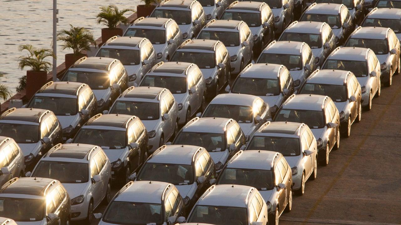 New Volkswagen cars on pier