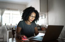 Woman on laptop at home