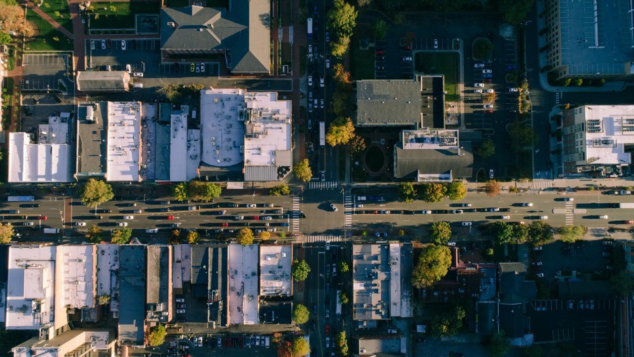 Aerial of city street