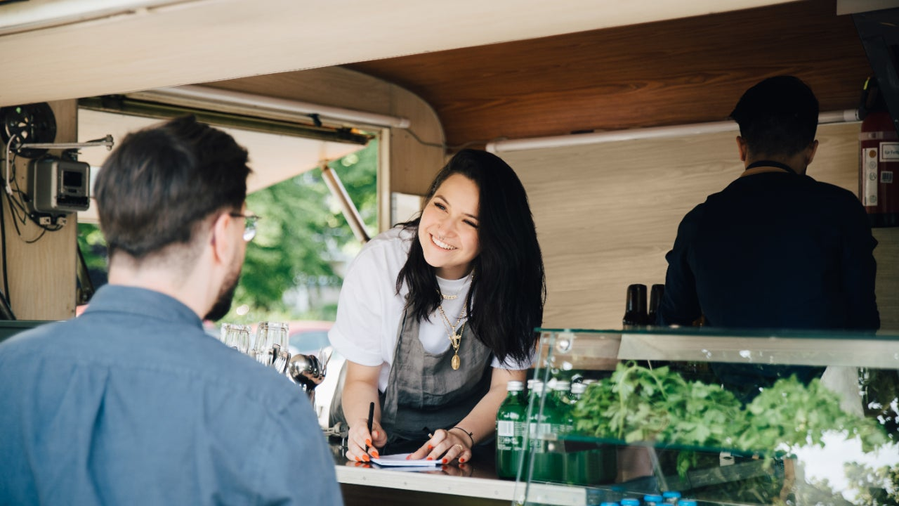 Woman working out of a food truck