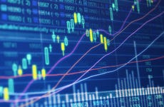 A picture of a stock chart and exchange data