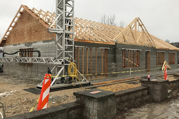 Roof trusses installed on the model home.