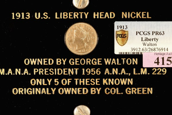 A picture of the Liberty Head V nickel for auction in 2013