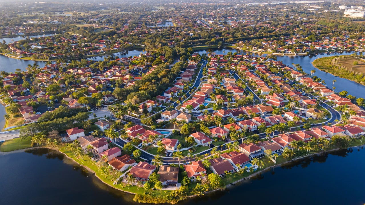 Beautiful aerial view of the luxurious suburbs in Florida, Fort Lauderdale
