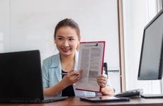 Young Asian businesswoman giving online presentation discuss contract details with client giving consultation, making video call on laptop computer