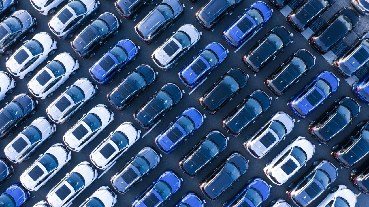 Aerial shot of cars