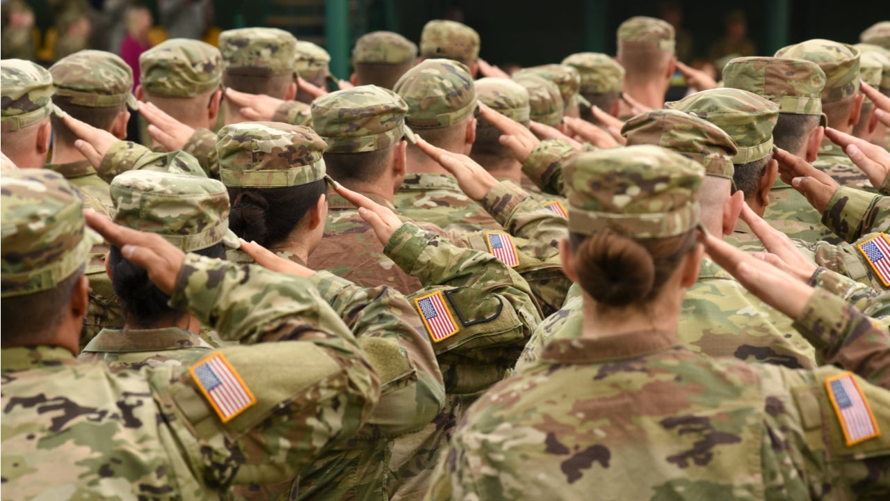 U.S. soldiers give a salute