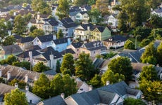 Aerial view of house roofs in suburban neighborhood