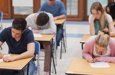 Students take a standardized test