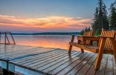 A dock on a lake.