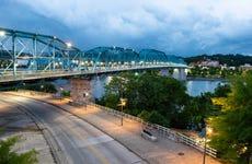 Empty Chattanooga Tennessee Streets at Dusk Under Pedestrian Bridge
