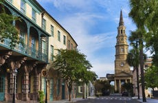 USA, South Carolina, Charleston, Church Street, Dock Street Theater, St. Philip's Church