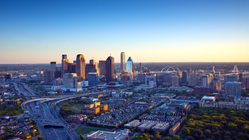 The Dallas skyline is a colorful landscape in late afternoon light