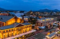 Overview of the Historic Roanoke City Market, Downtown Roanoke, Virginia USA