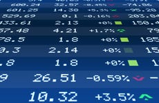 A list of stock prices on a display board