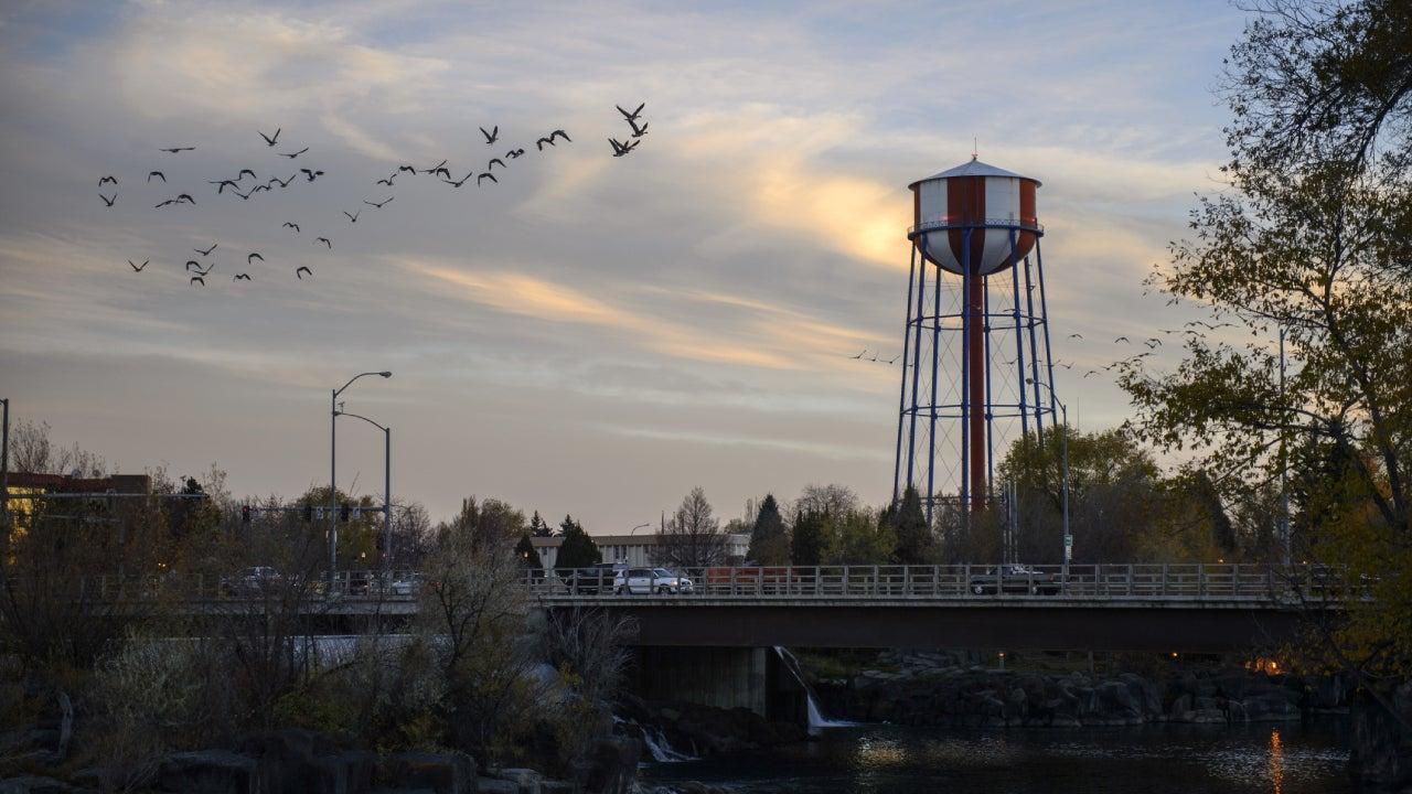 Water tower near the bridge and large group of Canada goose flying through Idaho Falls, Idaho, USA