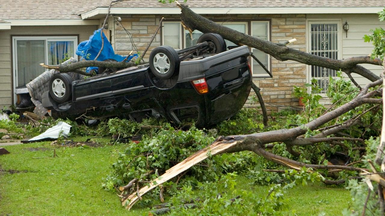 Tornado flipped van