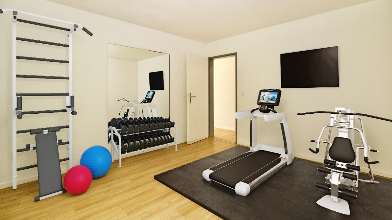 Empty room staged as a gym