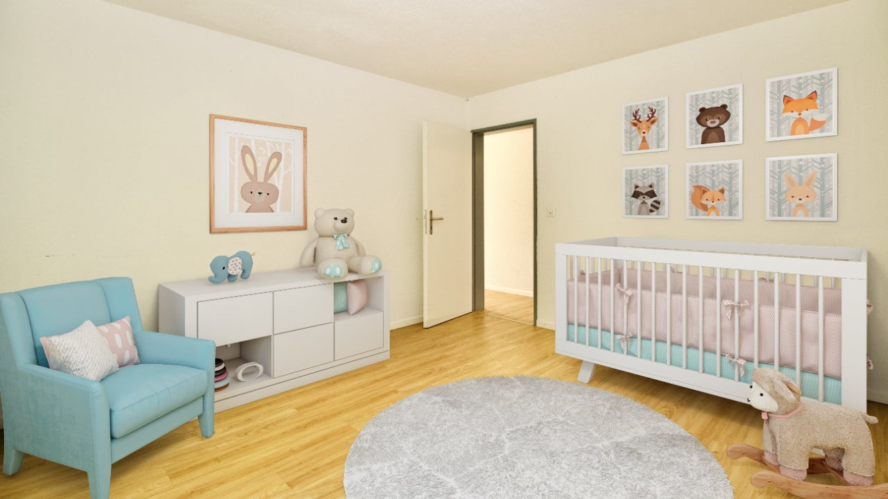 Empty room staged as a nursery