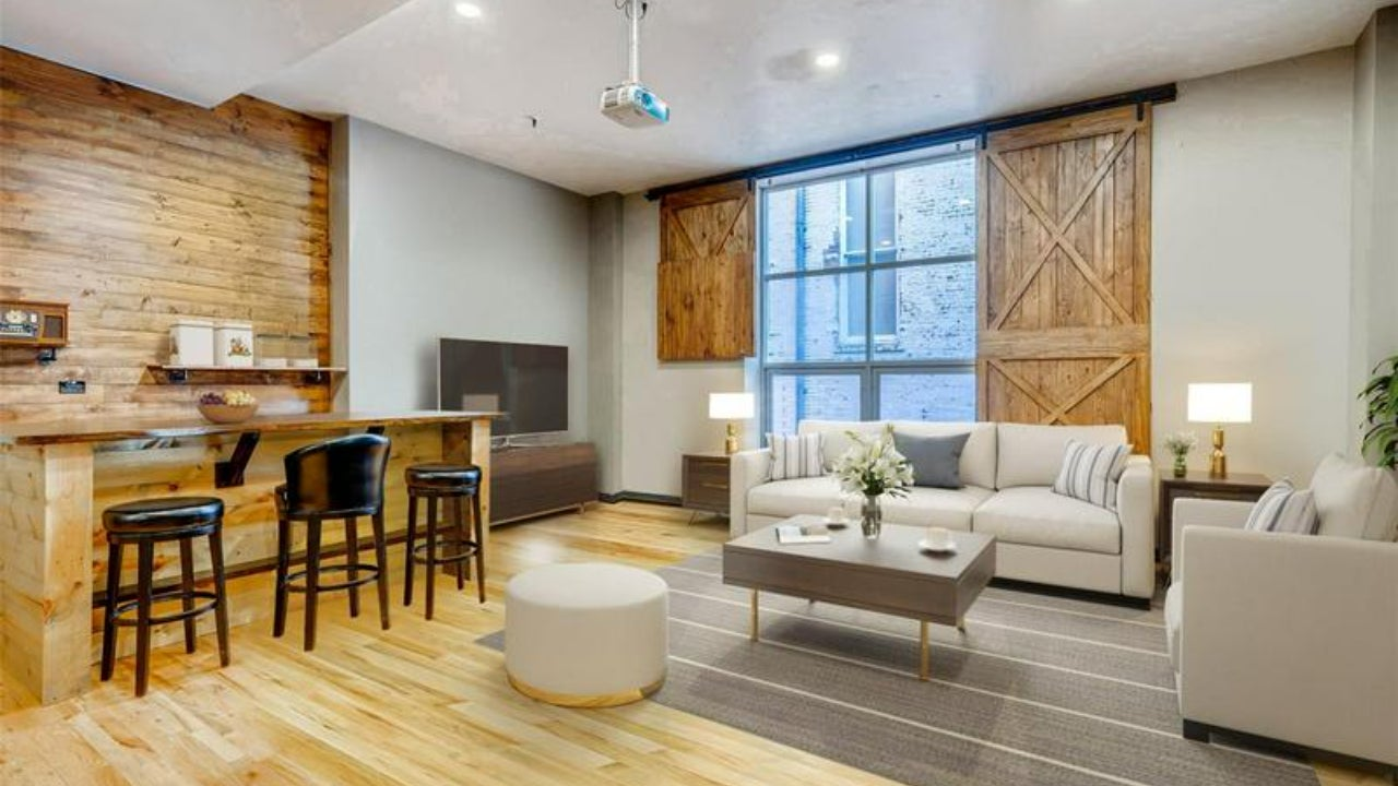 Denver bachelor pad digitally-staged with updated furniture