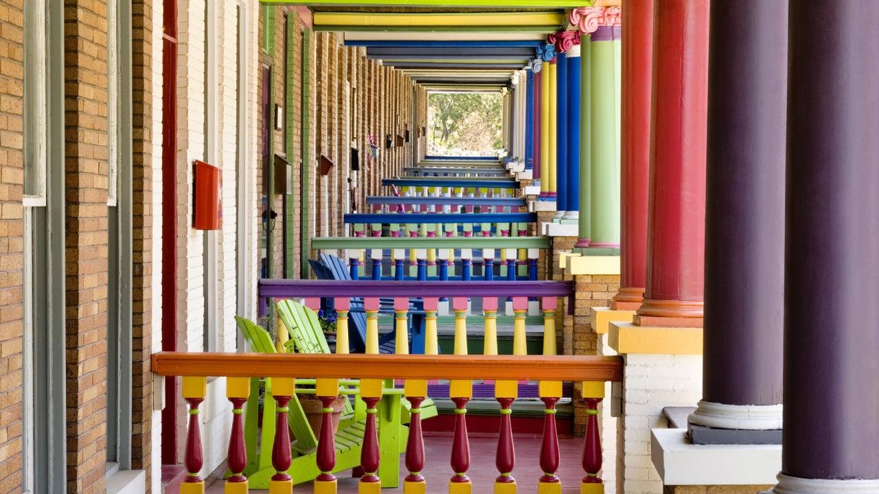 Multi-colored row house porches