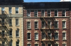 Brick apartment building facades in Morningside Heights, New York
