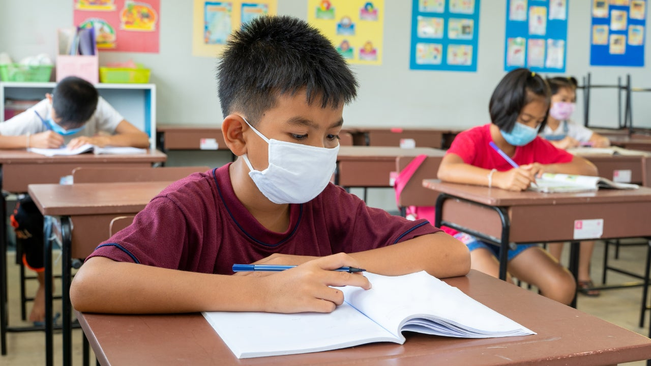 Elementary school wear mask for protect corona virus are studying.