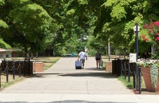 Students move in on a college campus