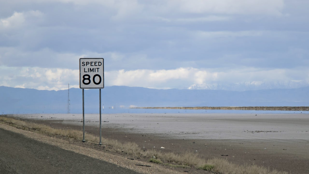 80 Mile Per Hour Sign Along A Freeway In Northern Nevada.