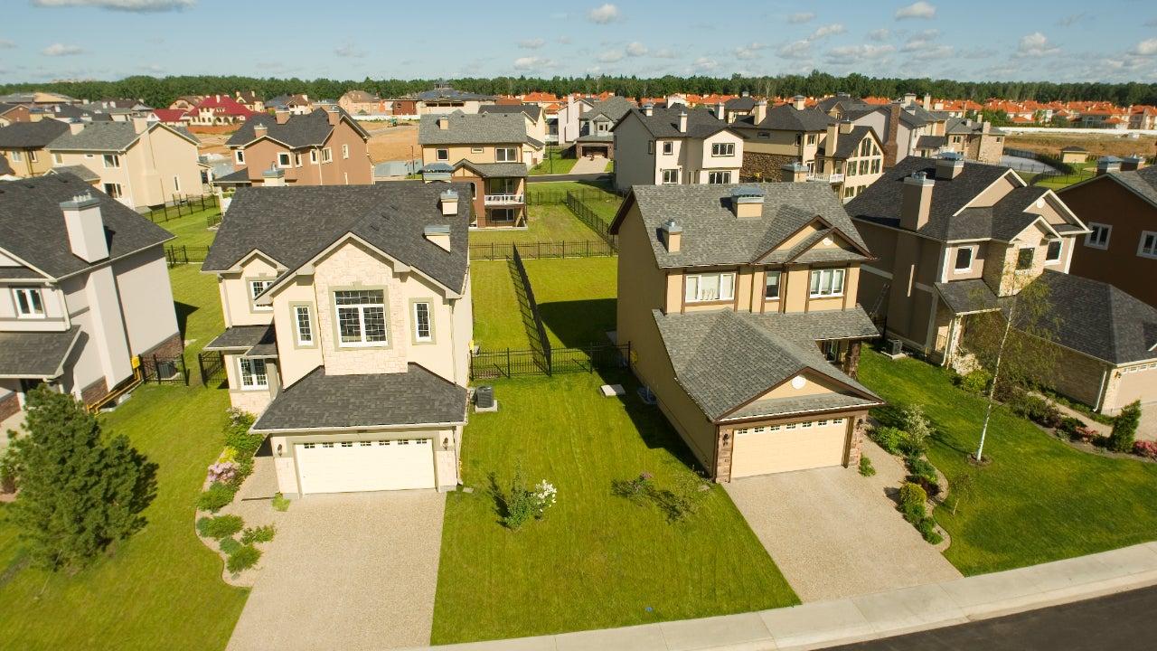 Suburban houses. High angle view